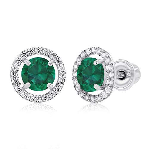 Halo Emerald Created Earrings