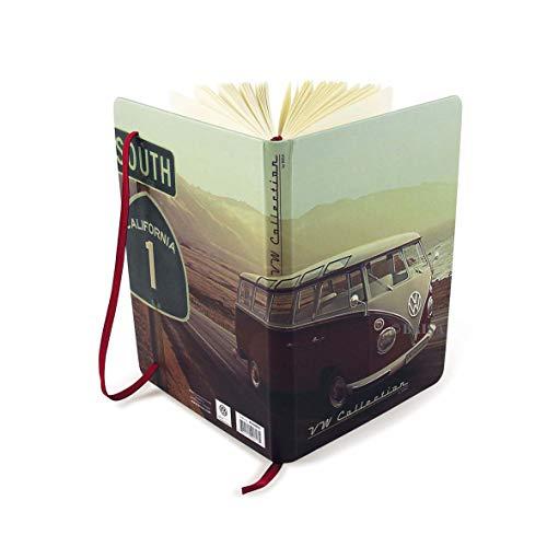 BRISA VW Collection - Volkswagen Furgoneta Hippie Bus T1 Van Cuaderno Vintage con Marcador y banda de goma, Diario formato DIN A5 con páginas alineadas, Agenda con calendario (Highway 1/Multicolor)