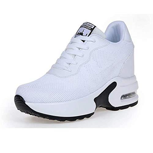 AONEGOLD Sneakers Zeppa Donna Scarpe da Ginnastica Basse Tennis Sportive Fitness Scarpe con Zeppa Interna Tacco 8.5 cm Casual Moda 9522 Blanco 36 EU