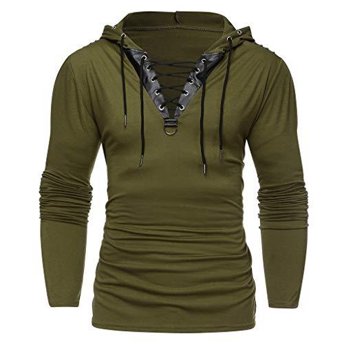 Xmiral Herren Kapuzenoberteile Kordelzug Vintage Leder Patchwork Langarm Sweatshirt Tops Pullover(XS,Grün)