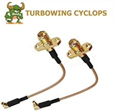 TURBOWING Electronics 2pcs Rf Coaxial Coax Cable Assembly Mcx Male Right Angle to SMA Female Mcx Male to SMA Male