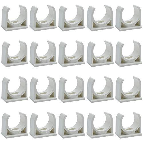 DXLing 20 Piezas de Colliers de Tuyau Conduit de PVC abrazadera de pipa del jardín del agua de riego Conectores Accesorios estable Soporte de Tubo Abrazaderas Clips Tubo Agua Raccords Blanc