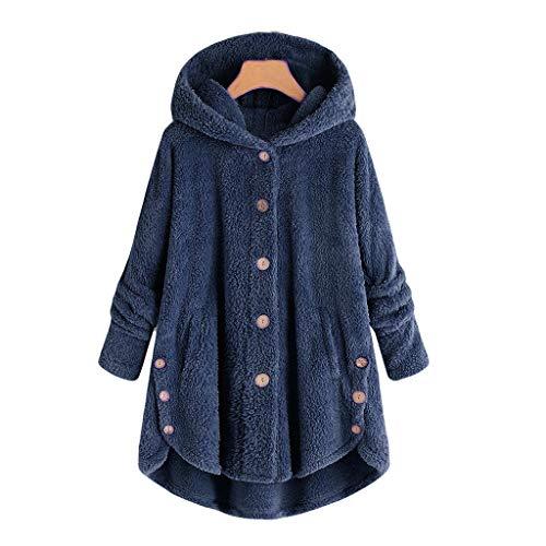 iHENGH Damen Herbst Winter Bequem Mantel Lässig Mode Jacke Frauen Knopf Mantel Flauschige Schwanz Tops Mit Kapuze Pullover Lose Pullover
