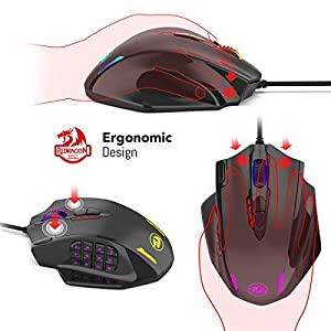 Redragon M908 Impact RGB LED MMO Maus USB Laser Gaming Maus mit 12400dpi, Hohe Präzision, 18 programmierbare Seitentasten, Ergonomisches Design, Schwarz