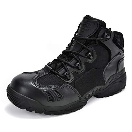 ANTARCTICA Herren Taktische Stiefel Outdoor Leder Wanderschuhe Walking Trekking Sneaker Wanderstiefel, Schwarz (schwarz), 39.5 EU