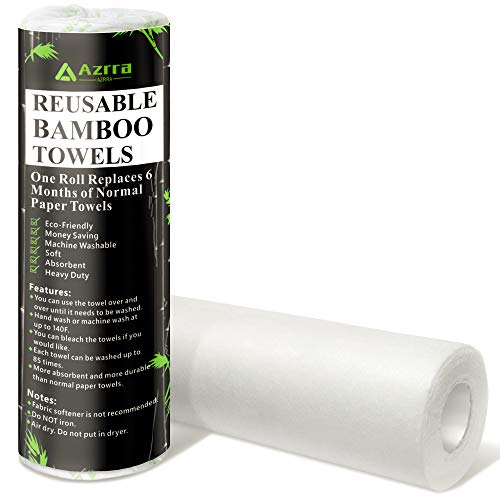 Bamboo Reusable Paper Towels - Zero Waste Strong Unpaper Towels, Eco Friendly Products, 30 Sheets/Roll = Half a Year Supply of Paper Towels, Machine Washable Reusable Kitchen Towels (1 Roll)