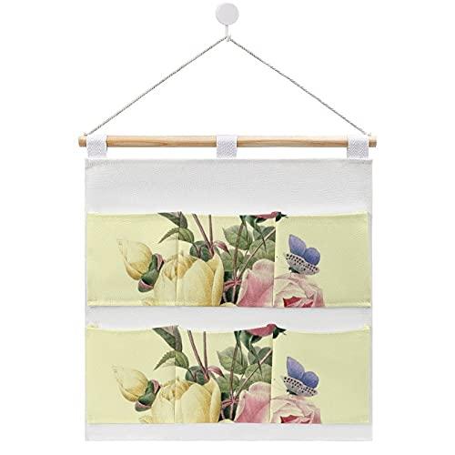 Rosas Bouquet Redoute Bolsa de almacenamiento de algodón y lino Bolsa de tela para colgar en la pared de la puerta, organizador para colgar 6 bolsillos