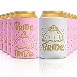 Onebttl 12 Piezas Bride to Be y Bride Team Manga de Refrigerador de Botella de Cerveza, Articulos para Despedidas de Soltera(con Tatuajes y Tarjetas)