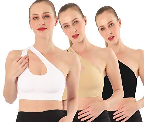 AKAMC Women's Removable Padded Sports Bras Medium Support Workout Yoga Bra 3 Pack Style-KD02,Medium