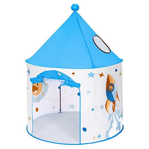 SONGMICS Tente de Jeu Enfant, Tipi Pop-up Portable, avec Sac de Transport, intérieur et extérieur, idée Cadeau, Blanc et Bleu LPT03WB
