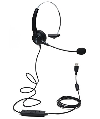 AGPtEK Hands-Free Call Center Noise Cancelling Corded Monaural Headset Headphone with Mic Mircrophone - Cord...