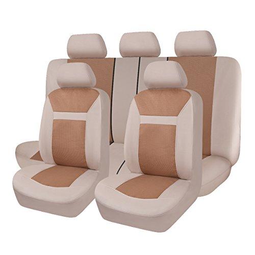 Flying Banner Maglie e Broccato Universale Coprisedili Auto Sedili con Airbag laterale (Beige)