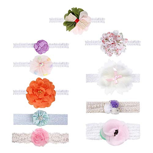 Bundle Monster Baby Girls 10 pc Soft Fabric Elastic Lace Ribbon Hair Band Headband Set