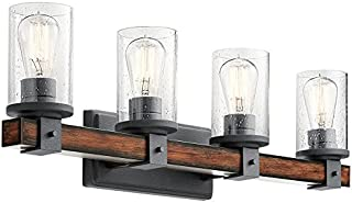 Kichler 4-Light Barrington 9-in Distressed Black and Wood Cylinder Vanity Light