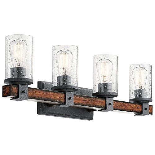Kichler 37423 Barrington Distressed Black and Wood Cylinder Vanity Light, 9 inch