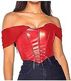 ZAKINUVA Women's Sexy Pu Leather Mesh Bustier...