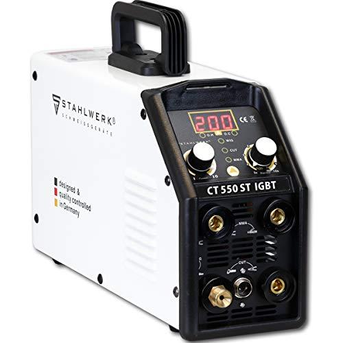STAHLWERK CT550 ST - kompaktes WIG/MMA Schweißgerät mit Plasmaschneider bis 12mm, 200 Ampere WIG/MMA + 50 Ampere CUT, 7 Jahre Garantie, weiß
