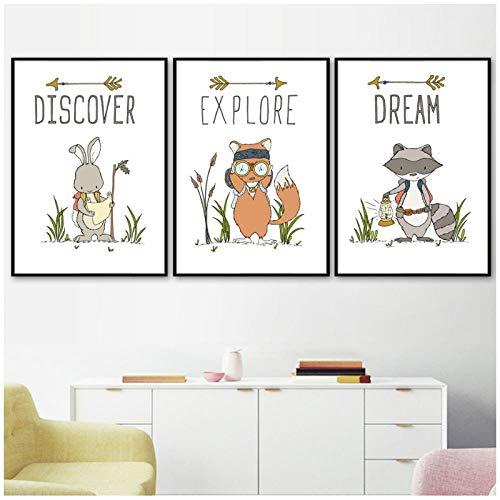 Fox Konijn Tent Pijl Kwekerij Muur Kunst Canvas Schilderij Cartoon Nordic Posters en Prints Muur Foto's Baby Kids Kamer Decor -50x70cmx3 stks (geen Frame)