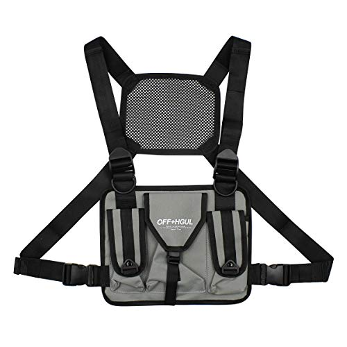 mosstyus Chest Front Bag Reflective Vest Radio Harness Adjustable Chest Rig Bag Pocket Pack Holster for Two Way Radio