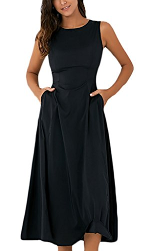 Donna Vestito da Sera Eleganti Estivi Moda Senza Maniche Vestiti di Swing Fishtail Abito da Cerimonia Puro Colore Partito Matita Abiti Cocktail Taglie Forti Tubino Vestitini Nero