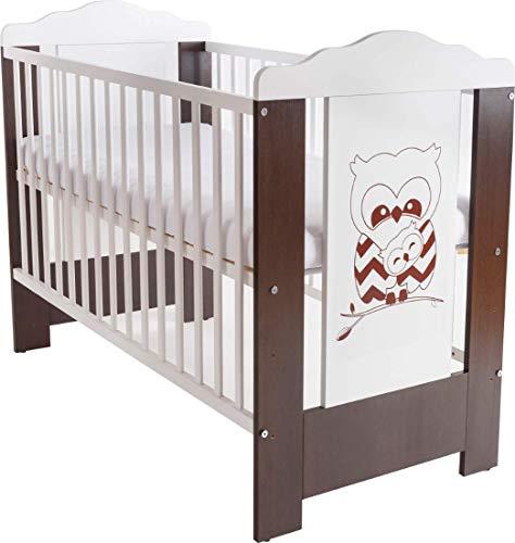 Niuxen CV-03 Baby Bett Kinderbett 120x60 höhenverstellbar Schlupfsprossen (mit Matratze) Motiv Eule Zickzack