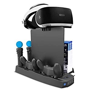 CHIN FAI Soporte Vertical de Carga PSVR, Stand Vertical PS4 Pro /PS4 Slim/ PS4, [Todo en 1] Accesorio PS4 Playstation VR, Refrigerador PS4,Cargador para Mandos DualShock 4 & PS Move