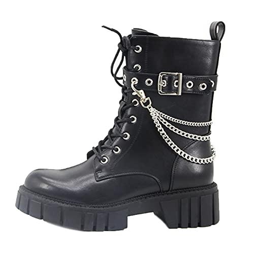 MeiLuSi Botas de combate militares con cordones para mujer, cadena gótica, tachonadas, botines de moto, Negro (7 Black), 37.5 EU