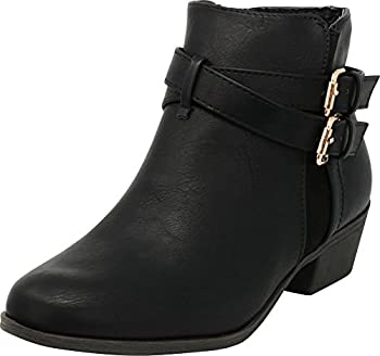 Cambridge Select Women s Closed Round Toe Western Buckled Crisscross Strap Chunky Stacked Block Heel Ankle Bootie,8.5 B M  US,Black Pu