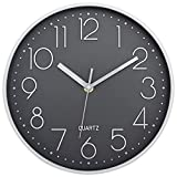 Foxtop Reloj de Pared Moderno, silencioso, sin tictac, Decorativo, Funciona con Pilas, para salón, Dormitorio, Cocina (Blanco Gris, 25 cm)