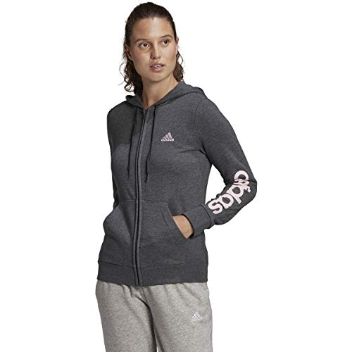 adidas,Womens,Linear French Terry Full-Zip Hoodie,Dark Grey Heather/Clear Pink,X-Small