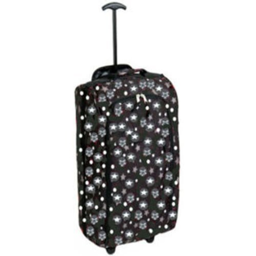 OnlineDiscountStore Black Stars - Lightweight Small Wheeled Hand Trolley Holdall Travel Cabin Bag