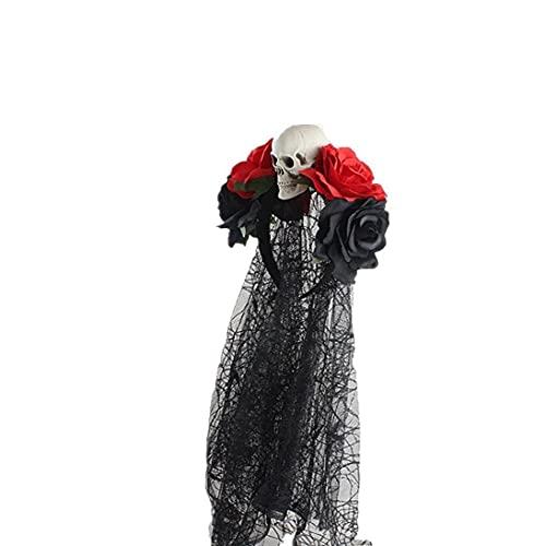 Accesorios De La Banda De Pelo De Halloween, Cinta De Calavera Rosa Simulativa con Traje De Velo De Encaje Negro Cosplay Accesorios Horribles para Niñas Damas Rojo Negro Y