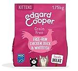 Edgard & Cooper Pienso Gatito Gatos Junior Kitten Esterilizados o Activos Comida Seca Natural Sin Cereales 1.75kg Pollo y Pato y Pescado Frescos, Alimentación Sana y Equilibrada, Proteína
