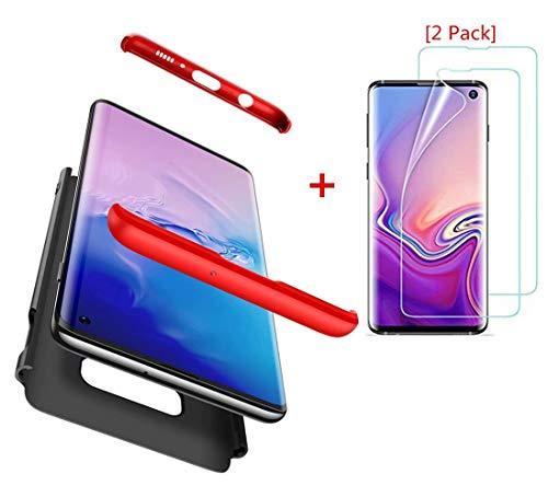 AILZH Compatibles para Funda Samsung Galaxy S10 lite/S10e Carcasa+[2*Protección Flexible de Pantalla HD] 360 Grados Caja protección de cáscara Dura Anti-Shock Caso Mate Bumper Case Cover(Rojo Negro)