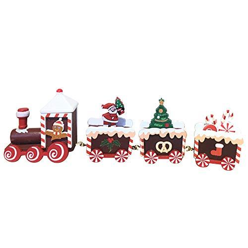Sureh, Treno Di Natale In Legno Carino In Legno Mini Treno Ornamenti Regalo Per Bambini Giocattoli Piccoli Treno Bambini Scuola Materna Regalo Festivo, Decorazioni Natalizie, -, A1, 21.5X2.5X5Cm