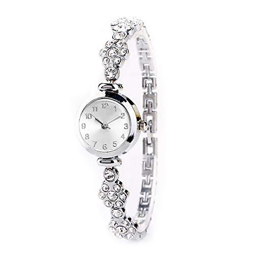 TaoNaisi Mujeres Reloj analógico de Cuarzo Relojes de Pulsera Movimiento con aleación Brazalete espumosos Relojes de Flores Detalles de Cristal con Pila de botón (Plata)