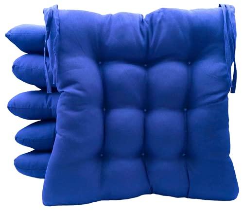 TIENDA EURASIA® Pack 6 Cojines para Sillas de Terraza - Funda de 100% Loneta Lavable y Relleno de Fibra Hueca Siliconada Acolchada - 40 x 40 x 5 cm (Azul)