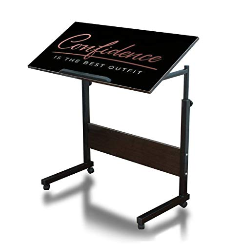 Confidence is The Best Outfit Inspirational Lettering Card Cute and Mobile Adjustable Over Bed Side Table Movable C Shaped Steel Frame Computer Desk for Bed Sofa Couch Home Office Dark Walnut