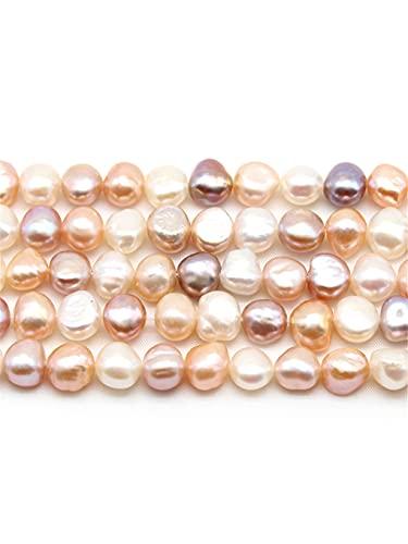 Perlas de agua dulce de oro blanco natural y rosa pequeñas cuentas espaciadoras irregulares sueltas de 3 a 10 mm de joyería de mano DIY 14 pulgadas multi 5-6 mm 55 cuentas