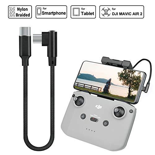 iEago RC Câble USB de type C vers type C OTG à angle droit de 90 degrés en nylon tressé pour smartphone, tablettes, connecteur pour DJI Mavic Air 2/Mini 2/Mavic Air 2S