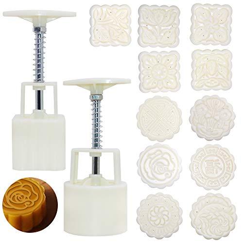 Senhai, set di 2 stampi per torta con 11 francobolli, fiori rotondi e quadrati per decorazione fai da te per torte, biscotti, dessert