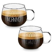 coppa del bicchiere di latte, cnnik tazza da 2 pezzi con fiocchi d'avena per la colazione, tazza da tè con manico, tazza da tè per microonde resistente al calore