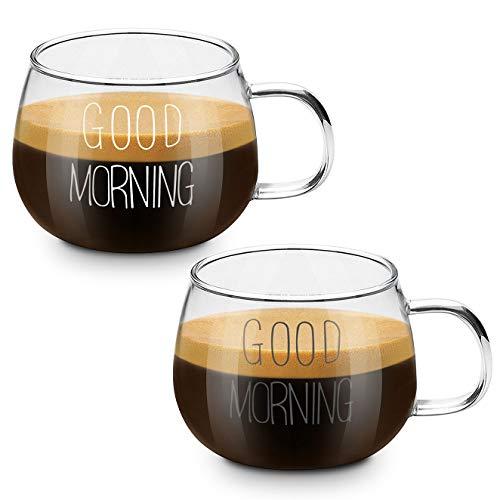 Coppa del bicchiere di latte, CNNIK Tazza da 2 pezzi con fiocchi davena per la colazione, tazza da tè con manico, tazza da tè per microonde resistente al calore