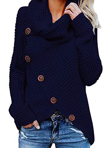 Yidarton Pullover Damen Warm Asymmetrische Strickpullover Rollkragenpullover Solid Wrap Gestrickt Langarmshirts Oberteile Causal (B-Blau, S)