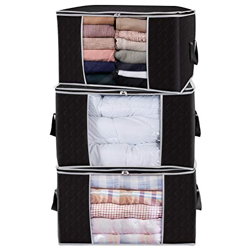 Lifewit Large Capacity Clothes Storage Bag Organizer with Reinforced Handle Thick Fabric for Comforters, Blankets, Bedding, Foldable with Sturdy Zipper, Clear Window, 3 Pack, 90L, Black