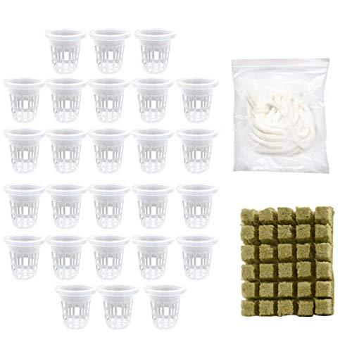 Rockwool Grow Cubes + Netz-Tassen mit Schlitzen, Hydrokultur-Set aus Baumwollseil, 26/50 Würfel, Basis zur Kompression von Kultur ohne Boden, für Pflanzenwachstum
