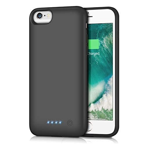 Gixvdcu Battery Case for iPhone SE(2020)/6/6s/7/8,6000mAh Portable Charger Case Protective External Battery Pack Rechargeable Charging Cover for iPhone SE(2020)/6/6s/7/8 (4.7inch)- Black