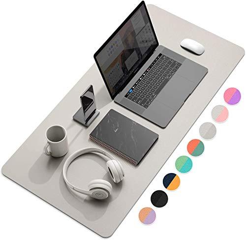 Multifunktionales Office Mauspad, YSAGi Wasserdichte Schreibtischunterlage aus PU-Leder, Ultradünnes Mousepad zweiseitig nutzbar, ideal für Büro und Zuhause (Silber 80 * 40 cm)
