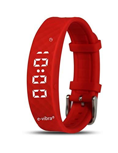 e-vibra Silent Vibrationsalarm-Erinnerungsuhr - mit bis zu 12 persönlichen Alarmen für das Toilettentraining Alarmtopfuhr für Kinder und Erwachsene (Red)