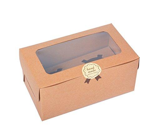 Juego de 12 cajas de papel Kraft para cupcakes con ventana de PVC/pieza de cartón 2 titulares-kraft
